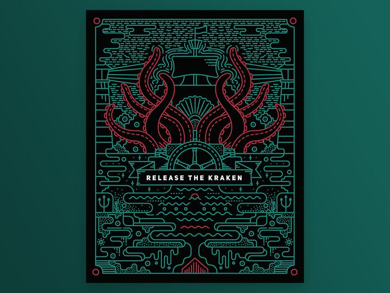 Release the Kraken vector flat illustration design