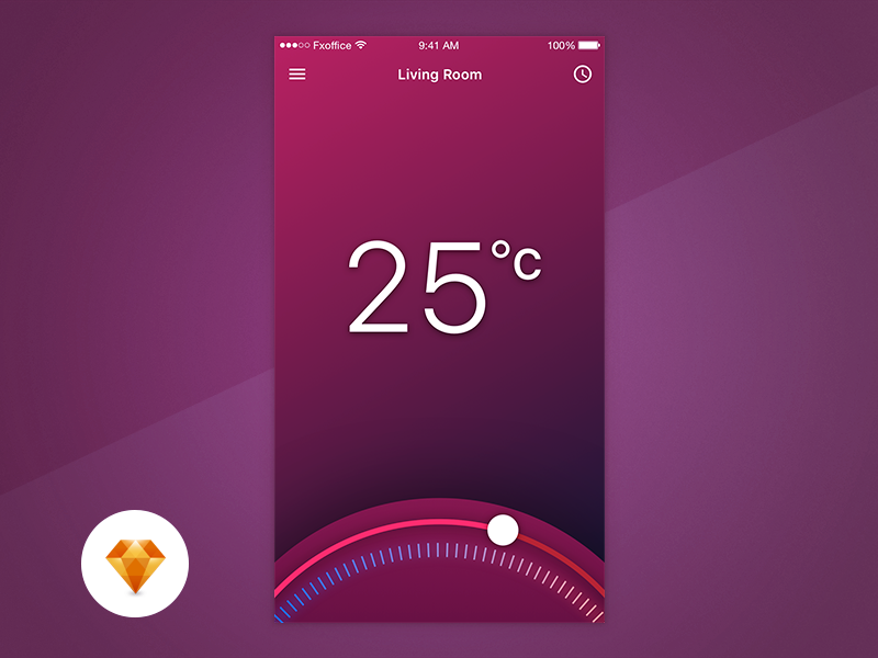 Thermostat App  Ux Free Sketchapp Challenge By