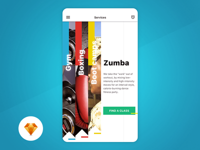 Fitness Services - Day93 My UI/UX Free SketchApp Challenge sketchapp freebie free mobile application day100 app fitness