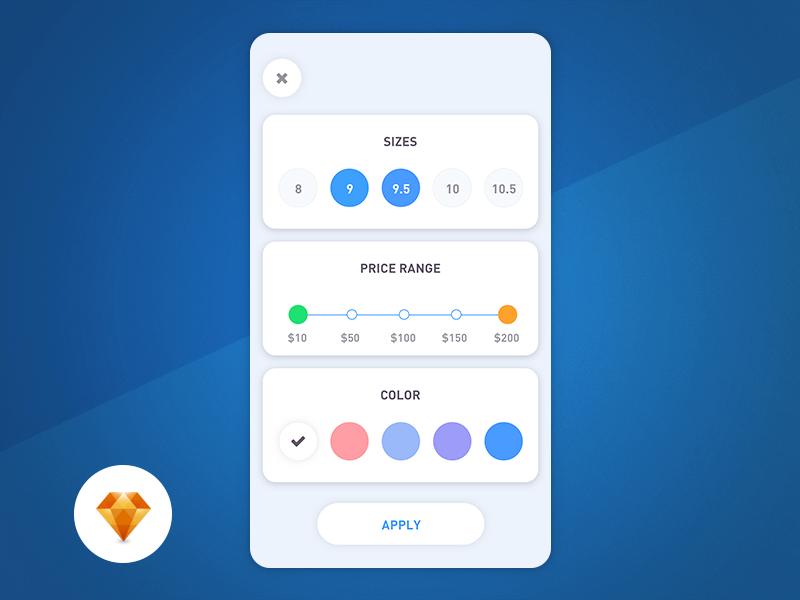 Filters – Day96 My UI/UX Free SketchApp Challenge