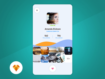 Profile - Day97 My UI/UX Free SketchApp Challenge camera mobile app free canon app mobile photographer profile sketchapp