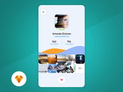 Profile - Day97 My UI/UX Free SketchApp Challenge camera mobile app free canon app mobile photographer profile sketchapp