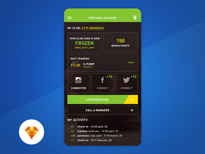 Personal Account - Day 98 My UI/UX Free SketchApp Challenge day 100 free app green activity bonus profile account club card fitness