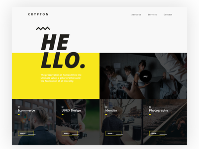 Crypton - landing for creative agency wordpress font hello creative crypton yellow landing agency website