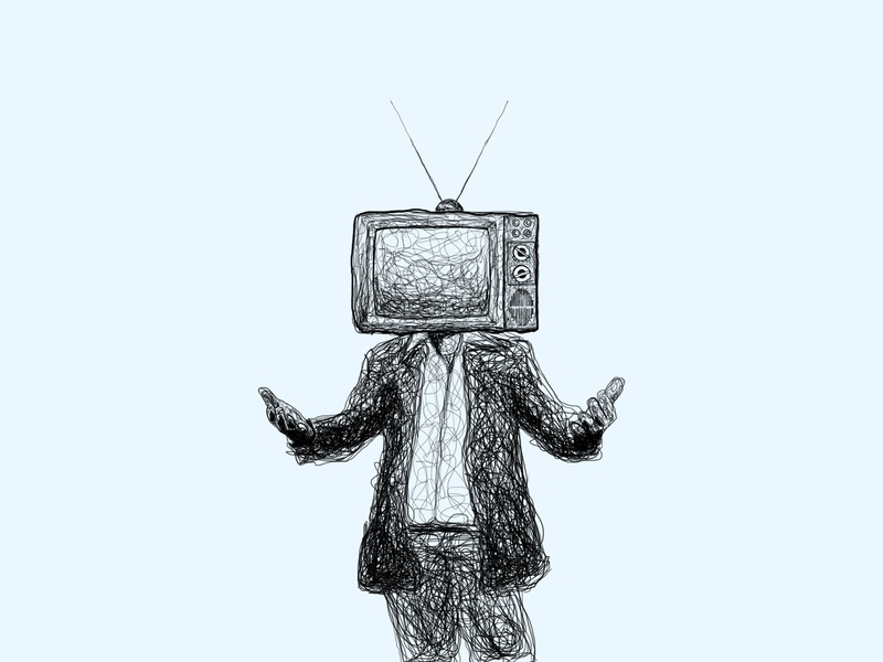 Television Head tech lineart scribble design illustration