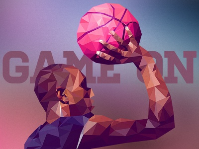 Game On low poly debut basketball ball player invite thanks