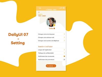 DailyUI 07 - Setting