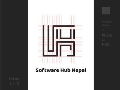 LOGO Design | software Hub Nepal letter lettering squarespace linework shapes brand logo design