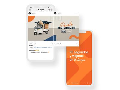 Social Media Brand Design — @pizza90s branding hot food layout pizza social media