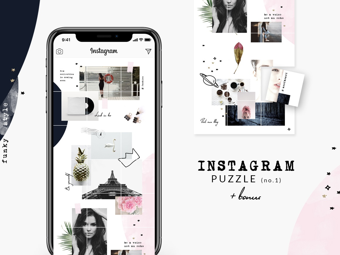 Instagram PUZZLE template - Funky style by CreativeFolks on