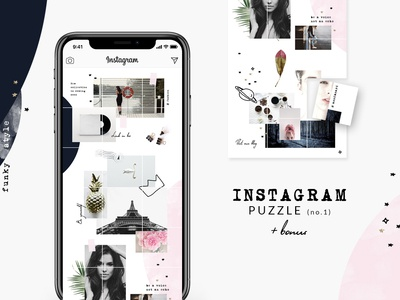 Instagram PUZZLE template - Funky style