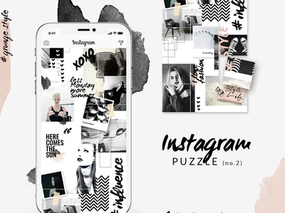 Instagram PUZZLE template - Grunge