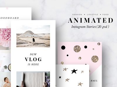 Animated Instagram Stories - Pink & Gold