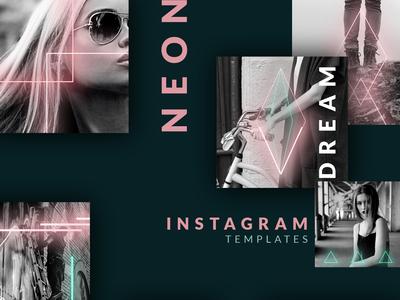 Instagram post templates - Neon 90s