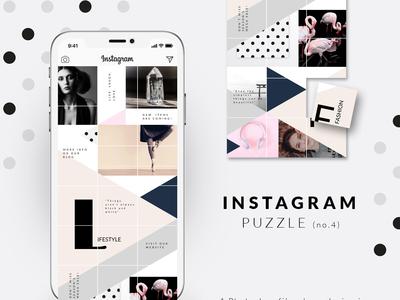 Instagram Puzzle template - Geometric