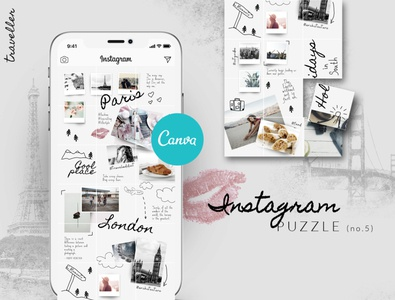 CANVA Instagram Puzzle Template - Traveller