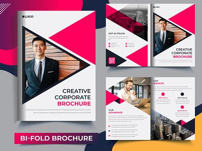 Creative Business Bi-Fold Brochure Template Design annual report flyer template corporate flyer business flyer design print brochure creative brochure corporate brochure design brochure template trifold brochure brochure design