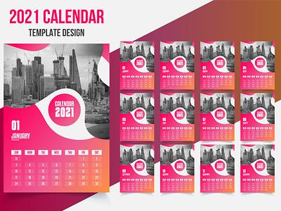 2021 Calendar Template Design desk calendar wall calendar calendar 2021 calendar design illustration business flyer design corporate flyer