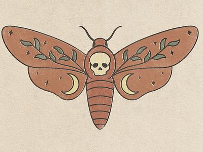 Death Head Moth design vintage truegrit photoshop texture illustration
