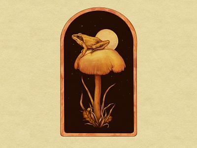 Frog & Mushroom design texture illustration