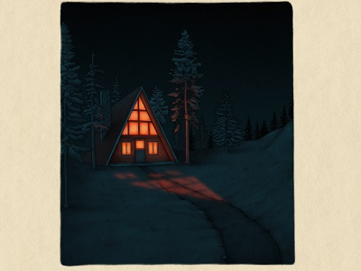 Cozy A-Frame in the Woods landscape vintage procreate texture illustration