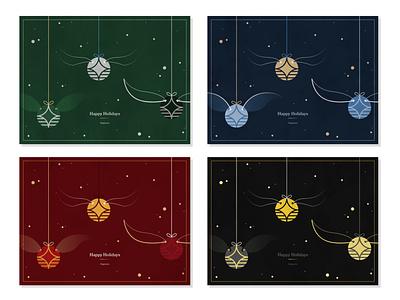 Hogwarts Holiday Card magic illustrator snitch hogwarts harry potter vector design illustration