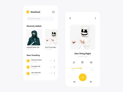 Music App artist ux ui yellow iphone mobile uiux sound song playlist music minimal listen interface georgia clean design app design app