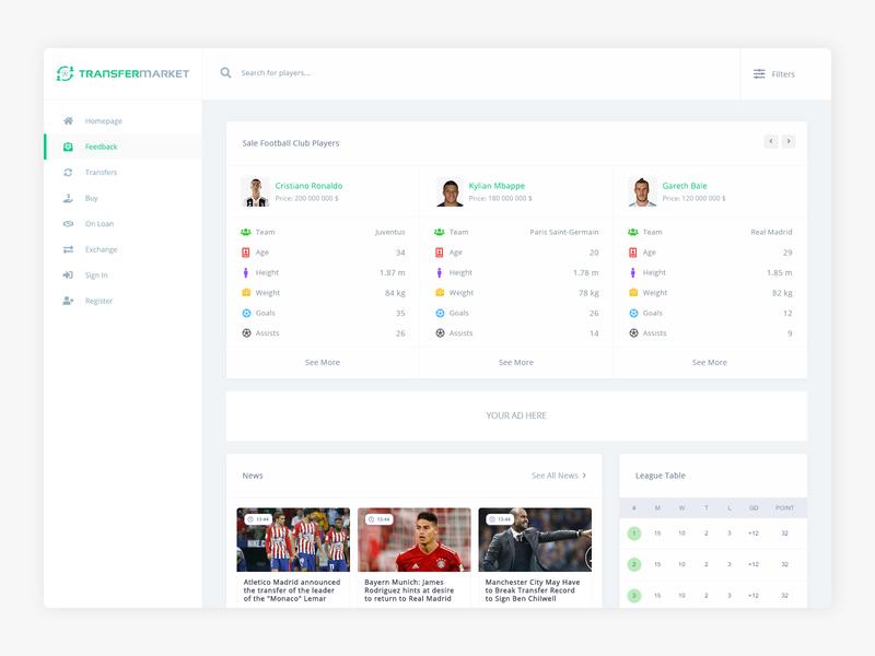 Transfer Market dashboard design web ux ui market transfer football
