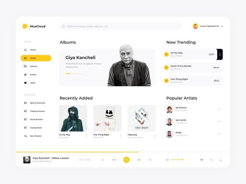 Music Web App UI georgia app design website dashboard yellow interface listen playlist song album artist sound music ux ui web minimal design clean app