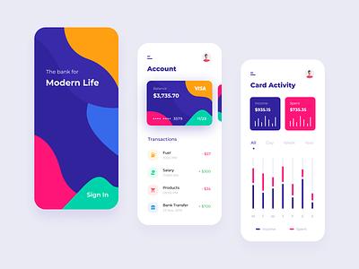 Mobile Banking App georgia design ux design ui design wallet minimal ux ui mobile illustration finance credit card colors clean card banking bank card bank app design app