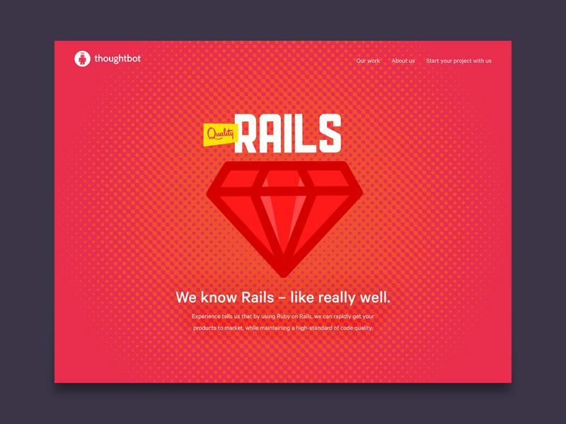 We're good at Rails lichtenstein thoughtbot gem dots fresh halftone home hero rails