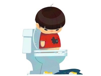Baby Us: Toilet Boy illustration nolen lee kids character design humor potty potty training baby boy