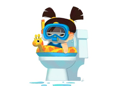 Baby Us: Toilet Girl illustration nolen lee kids baby shower scuba humorous potty training potty toilet girl baby
