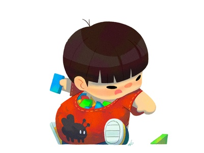 Baby Us: Block Boy illustration nolen lee kids character design toys toddler baby boy