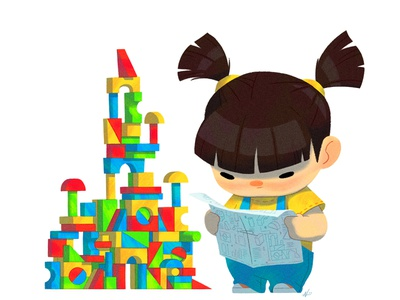 Baby Us: Block Girl toys illustration nolen lee kids stem builder baby girls blocks