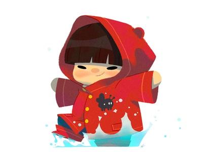 Baby Us: Puddle Boy character design illustration nolen lee rain splash puddle boy