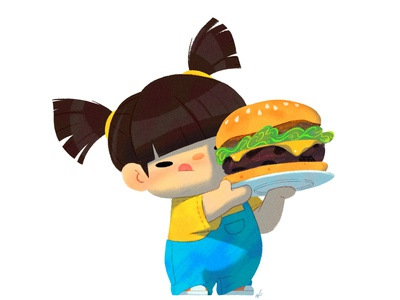Baby Us: Burger Girl illustration character design nolen lee food burger toddler girl