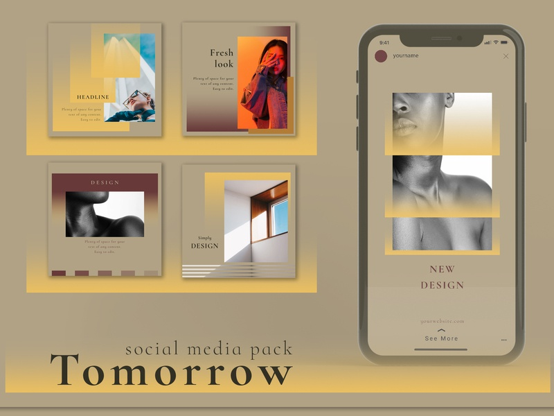 Tomorrow - Social Media Pack stories post banner facebook design blog template instagram template social media photoshop instagram