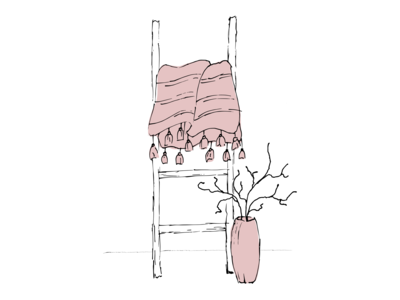 Ladder and vase. Vector illustration.