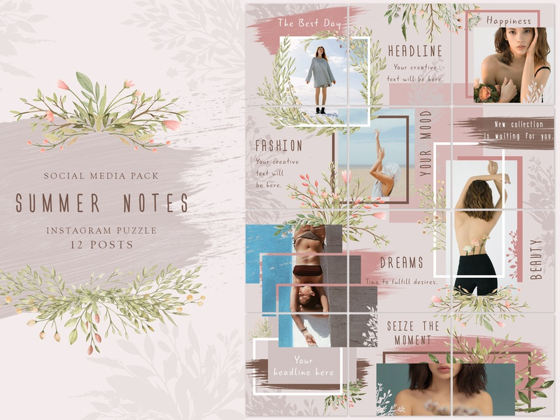 Summer Notes - Instagram Puzzle leaves branches watercolor strokes photoshop social media instagram template puzzle seamless template instagram