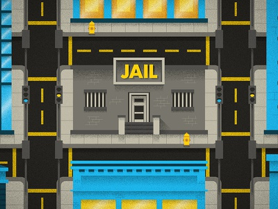 Downtown Jail sketch drawing editorial cartoon illustration
