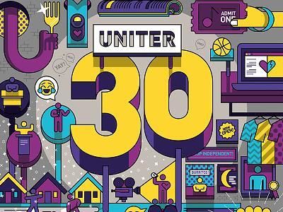 Uniter 30 type font typography vector sketch drawing editorial cartoon illustration