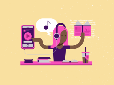 Studying and Music illustrator illustration