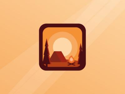 Icon? camp campsite fire tent warm icon