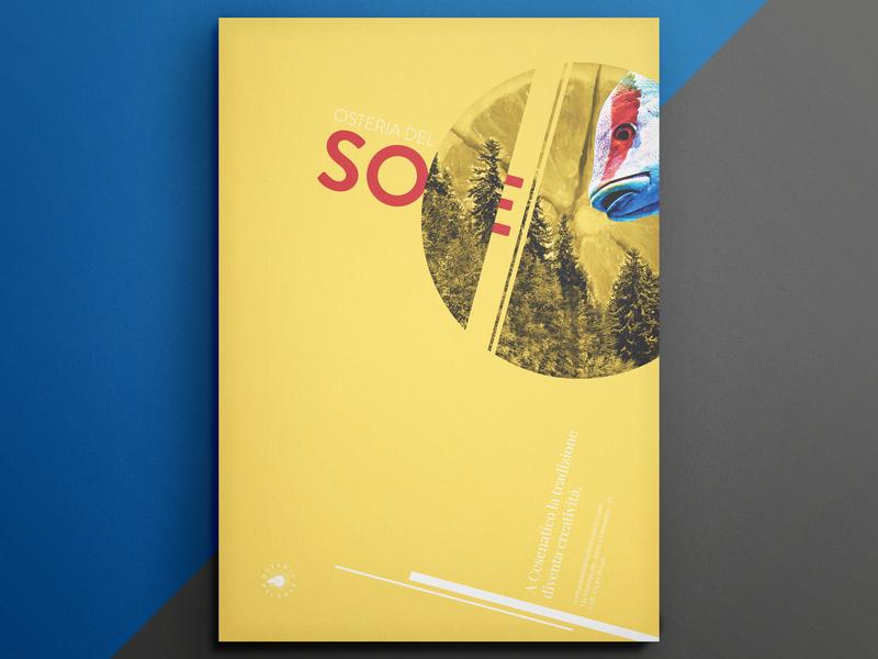 Fishy Poster - Restaurant ADV yellow minimalist design double exposure restaraunt poster art