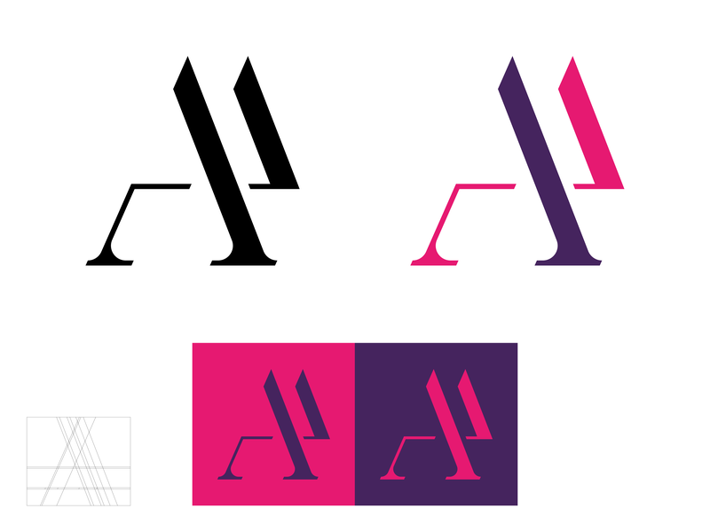 AP Monogram_3 magenta neon p monogram play playfair lettering branding a 2d logo
