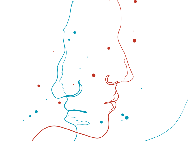 Illustration_01 vector minimal lineart red and blue illustration