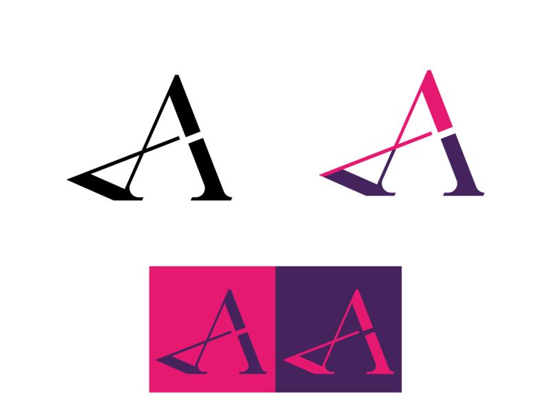 AP Monogram_4 violet magenta neon letterart monogram typography vector branding a 2d
