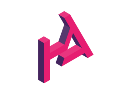 Monogram_final logotype branding magenta purple geometric type monogram logo isometric