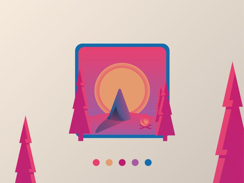 Neon Campfire vector design illustration purple magenta neon